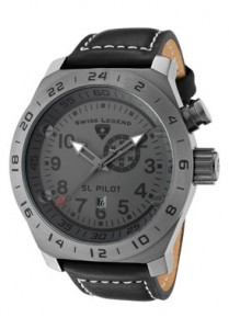 Swiss Legend Men's SL Pilot GMT Grey Dial Gunmetal IP Case Black Leather
