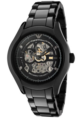 Armani Watches Women's Ceramica Silver Skeletonized and Black Dial Black Ceramic
