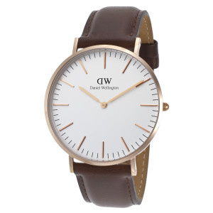 Daniel Wellington Men's Classic Bristol Dark Brown Leather White Dial