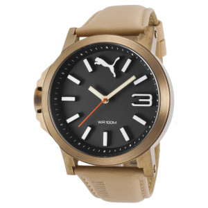 Puma Men's Beige Genuine Leather Black Dial