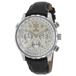 Rotary Men's Aquaspeed Chrono Black Genuine Leather Yellow Dial SS