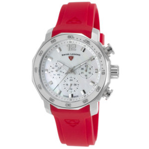 Swiss Legend Blue Geneve Chrono Red Silicone White MOP Dial